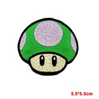 ingrosso patch di ferro di emblema-nuovo arrivato carino verde GIOCO SUPER MARIO Patch ricamata in ferro Sew Logo Emblem 1 UP MUSHROOM