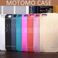 Wholesale Brush Aluminum Case For Iphone - Motomo Luxury Metal Aluminum Brushed Plastic Hard Back Cover Ultra Thin Cases For iPhone 5 6 6S 7 plus Samsung S7 Edge LG