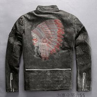 Wholesale Coloured Leather Jackets - Limited edition 2 colours India head Embroidery back Marbobo Classic Genuine leather jackets vintage black stand collar motorcycle jackets
