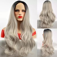 Wholesale Similar Human Hair Long - Long Wave Ombre Grey Wig Brazilian Similar Human Hair Wigs For Black Women Glueless Water Wave None Lace Synthetic Wigs Free Shipping