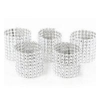 Wholesale Serviette Holders - European Style Plastic Rhinestone Wrap Napkin Ring Serviette Buckle Holder Hotel Wedding Supplies Party Chair Decoration ZA3197