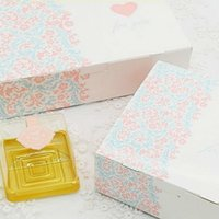 """Wholesale Cake Boxes Packaging Pattern - """"For You"""" Pink Heart Decorative Pattern Mooncake Biscuits Nougat Cake Box Party Gifts Packaging Party Supplies 10pcs lot"""