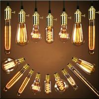 ampoules achat en gros de-Antique rétro Vintage 40W 220V Edison ampoule E27 ampoules à incandescence ampoule à cage filament ampoule Edison lampes