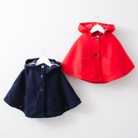 Wholesale Red Hooded Poncho - Kids Girls wool Cloak Capes Hooded Outwear Girls clothing 2017 Winter Red Navy Pockets European style 2-6years Wholesale