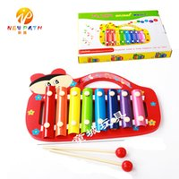 Baby's Wooden 8-Note Xilofone Brinquedos Musicais Crianças <b>Hand Knocking</b> Piano 4 Kinds Animal Cartoon instrumento de música Learning Tool Toys