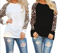 Wholesale Wholesale Grey Jumpers - 2017 Women Long Sleeves Leopard Printed O Neck Long Sleeve T-shirt Jumper Tops Casual Spring Autumn Femininas Black White Grey S-5XL