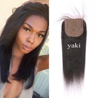 ingrosso chiusura a parte di yaki-Chiusura dei capelli di Yaki 4x4 Parte libera Vergine peruviana dei capelli umani Base di seta chiusura nodi candeggiati 8-22 pollice G-EASY