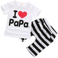 Wholesale Love Mama Papa Pants - Wholesale- I love papa and mama baby boys girls clothing sets 2016 Newborn Baby Clothes Casual T-shirt Tops Striped+Pants 2pcs Outfits Set