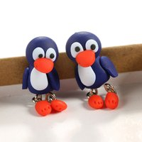3D Handmade Polymer Clay Lovely Pinguim Stud Earring para mulheres Girl Earrings Jóias NE848