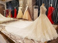 Wholesale Pure White Crystal Wedding Dresses - Appilque Lace Big Chapel Train Long Sleeves Beaded Crystal Arabic Jewel Luxurious Elegant Pure Ball Gown Wedding Dresses