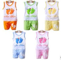 Wholesale Leisure Suits Candy - Wholesale- New style summer baby boys girls clothes cotton suit children set Leisure Candy colors Kids clothing infant clothing