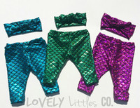 Wholesale Green Scale Leggings - Little Mermaid Leggings capris Toddler Fish Scale Print Leggings Green Mermaid baby leggings mermaid scale girly baby clothes