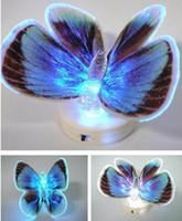 волоконно-оптические огни свадьбы оптовых-Красочные волоконно-оптический бабочка ночник LED бабочка ночник для свадьбы комнате ночник для детской комнаты G587