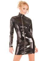 Wholesale Latex Clothes Xxl - Mini Dress Latex Leather Skirt PVC Long Sleeve Costume Sexy Lingerie Catsuit Leather Bodysuit Sexy Game Jumpsuit Uniforms Dancing Clothing