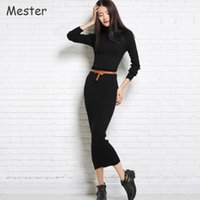 Wholesale Grey Black Sweater Dress - Autumn Winter New Turtleneck Cashmere Sweater Dress Women Elegant Long Sleeve Solid Wool Knitted Dress Black White Red Grey