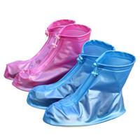 chaussures de pluie couvrent en gros achat en gros de-Vente en gros - 2016 chaussures femme cheville bottes de pluie PVC solide fermeture à glissière imperméable femmes bottes de pluie courte chaussure couvre dames automne chaussures d'eau plat