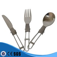 Wholesale Foldable Outdoor Camping Three piece Titanium Cutlery Ultralight Titanium Knife Fork Spoon Outdoor Camping Picnic Cookware Kit