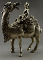 Metal carved camel - Exquisite Interesting Collectible Decorated Old Handwork Tibetan Silver Camel Carry Dowager Statue