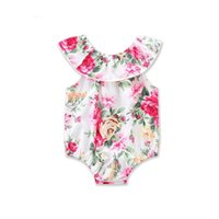 Wholesale Baby Lapel Romper - Everweekend Baby Girls Floral Rompers Toddler Cute Lapel Neckline Ruffles Baby Clothing Sweet Fashion Children Kids Romper