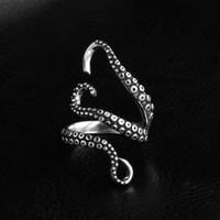 кольца осьминога оптовых-2017 новый мужской ювелирные изделия цинковый сплав панк стиль кальмар осьминог ретро кольцо животных открыл регулируемый палец кольцо для человека