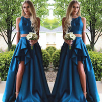 Fashion Two Piece Prom Dress Sexy A-Line Jewel Neck Sleeveless Ruched Split Party Dress 2017 Cheap Custom Made Satin Celebrity Evening Gowns