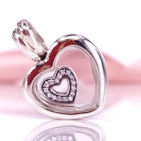 Wholesale Summer Floats - Wholesale Summer Jewellery 925 Silver Bead Floating Heart Locket Sapphire Crystal Glass Charm Fits Pandora Jewelry Bracelets Necklace