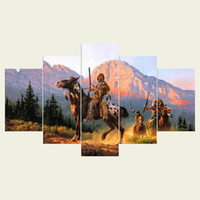 Wholesale Oil Painting Hunting - (No frame) The hunting indians series HD Canvas print 5 Panel Wall Art Oil Painting Textured Abstract Pictures Decor Living Room Decoration