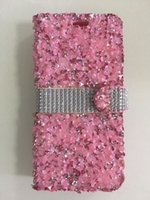 Wholesale Low Priced Black Diamonds - For Samsung Galaxy S8 Plus S7 Edge S6 Plus Bling Rhinestone Diamond Leather Wallet Case Durable Hard Cover Credit Card Holder Low Price