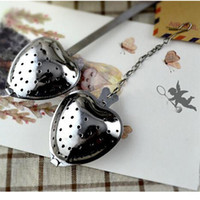 Wholesale Tea Strainers Love Heart - cute love Heart Shape Stainless Steel Tea Infuser Spoon Strainer Steeper Handle Shower DHL EMS fast shipping