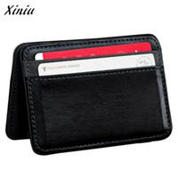 Wholesale leather card holder magic - Wholesale- Xiniu Wallet Cross Elastic Strap Credit Card Holder Mini Magic Bifold Leather Wallet Carteira Masculina #1213
