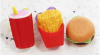 gomas de borrar de navidad al por mayor-Nuevo diseño de las herramientas de la oficina 3D Hamburgar virutas de Coka Cola pasteles de borradores de regalos de Navidad creativa del borrador de goma del borrador de lápiz 3D