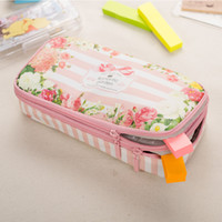 Wholesale Layer School Bags - Korean Waterproof Large Capacity Romantic Floral Garden Double Layers Pencil Case Pen Holder Pouch Stationery School Supplies