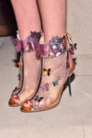 maille peep toe talons achat en gros de-2017 Sophia Webster Harmony Mesh 3D Butterfly Bootie Rosa / Turquoise / Orange talons hauts femmes peep toe sandales d'été