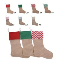 Wholesale High Quality Girls Socks - 12*18inch 2017 New high quality canvas Christmas stocking gift bags Xmas stocking Christmas decorative socks bags 4543