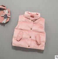 Wholesale Velvet Collar Jacket Wholesale - Girls velvet warmest vest jacket winter kids pleuche warm waistcoat children stand collar single breasted velour princess outwear R0326