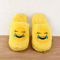 Cute Unisex Winter Man's Plush Slippers Indoor Shoes House Engraçado Mulheres chinelos Emoji Shoes Warm House Slipper Hot Sale 2017
