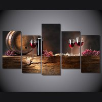 Wholesale canvas wine decor - New 5 Panel Modern oil painting style Pictures No Framed Wine Glasses and Barrel Printed Canvas Painting Home wall decor
