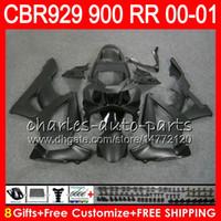 schwarze cbr 929 verkleidung großhandel-Körper für HONDA CBR 929RR CBR900RR CBR929RR 00 01 CBR 900RR Mattschwarz 67NO80 CBR929 RR CBR900 RR CBR 929 RR 2000 2001 Verkleidungskit 8Gifts