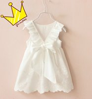 Wholesale Embroidery Girls Dress - Girls Kids Princess White Bow Dress For Children 100% Cotton Ruffles Sleeveless Dress Baby Backless Embroidery Hollow Out Dresses Skirts