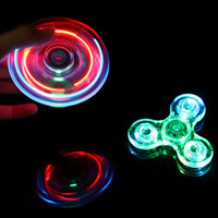 Wholesale Led Novelty Light Hands - Fidget Spinner LED Light up Hand Spinner Transparent Switch Crystal Rainbow Fidget Novelty Toys for Kids