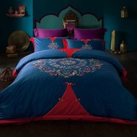 Printed oriental hand embroidery - Chinese Oriental Embroidery Bedding set Queen King Size Cotton Bedclothes Cotton bed linen Duvet cover Pillowcase