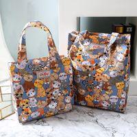 Wholesale Women Trunk Bags - Mini size cath king Cartoon printing waterproof handbag environmental protection shopping bag student book bag lunch bag