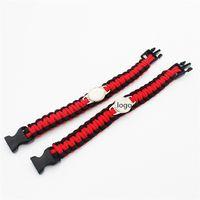 Wholesale Camping Logos - Fashion Wristband Decoration Outdoor Gear Survival Bracelets Escape Paracord Bracelet Hiking Camping Travel Custom LOGO 10 Pcs Fast Shipping