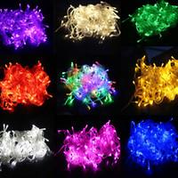 funkelnde led-leuchten großhandel-Neuer Eröffnungsrabatt 10M imprägniern 110V / 220V geführte Schnur 100 LED RGB weiße Feiertag Schnurlichter für Weihnachtsfest-Party