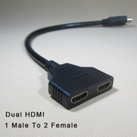 Wholesale Hdmi Splitter Y Cable - New Arrival HDMI splitter cable 1 Male To Dual HDMI 2 Female Y Splitter Adapter in HDMI HD LED LCD TV 30cm