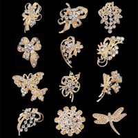 Wholesale Scarf Clips Wholesale - New Gold Brooches Pin Best Silver Small Scarf clips High Quality Fashion Korean style Mix 12 designs wholesales 30% discount DHL free