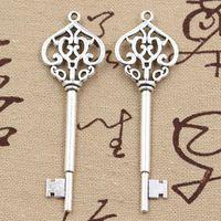 Wholesale Vintage Key Charms - Wholesale-99Cents 4pcs Charms vintage skeleton key 69mm Antique Making pendant fit,Vintage Tibetan Silver,DIY bracelet necklace