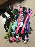 Wholesale Lanyard Keys Id Neck - 2017 hot VS LOVE PINK Neck Strap Lanyard With silver metal Clip Multi Color key phone work ID card lanyaed