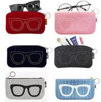 Wholesale Sky Sunglasses - Creative Fashion Felt Design Colorful Glasses Storage Box Travel Sunglasses Organizer Bags Case Comestic Makeup Package Pouch 20pcs Lot