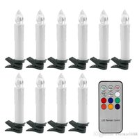 Wholesale Wholesale Candles Tapers - 10Pcs Battery power flickering RGB Tea Flameless Remote Control LED taper Candle Light Wedding Xmas Party tree+12 key controller